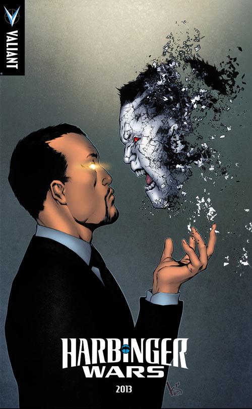Toyo Harada the leader of the Harbinge Foundation facing against what looks like Bloodshot © Valiant Comics